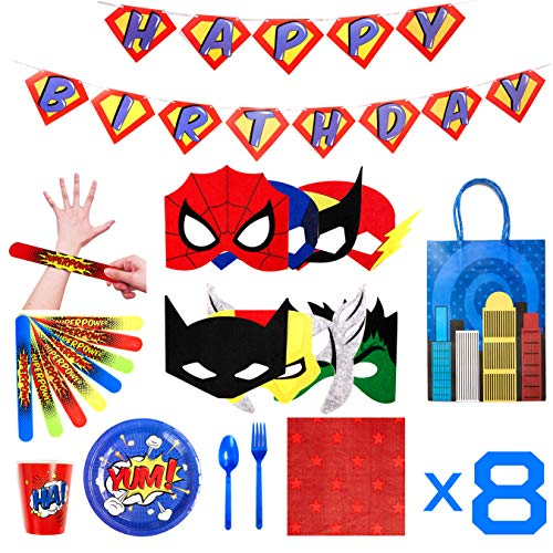 Superhero Party Supplies - Felt Masks for Kids -Superhero Birthday Party Favors Set - Slap Bracelets - Favor Bags - Banner & Decorations - Plates Cups Napkins Silverware -