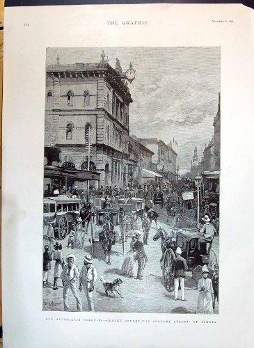 1890 Scene George Street Regent Sydney Australia Buildings Transp - Street George Australia Sydney