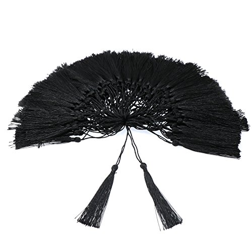 (VAPKER 100 Pieces Black Tassels 13cm/5-Inch Silky Handmade Soft Tassels Floss Bookmark Tassels with 2-inch Cord Loop for Jewelry Making, DIY Projects, Bookmarks)