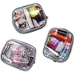 Keokee Small Clear Cosmetic or Multipurpose Bags - Set of Three Cases