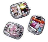Keokee Small Clear Cosmetic Cases or Multipurpose Bags, Organizer and Travel Packing Pouches, Set of 3