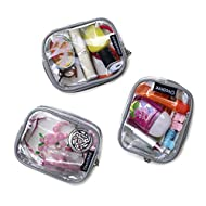 Keokee Small Clear Cosmetic Case or Multipurpose Bag - Set of Three Cases