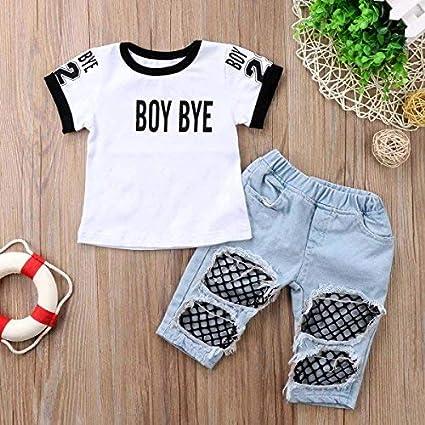 Kids Baby Girls T-Shirt Tops Summer Autumn Mesh Hole Denim Pants Jeans Harem Leggings Outfits Clothes