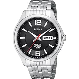 Pulsar Watches Mens Kinetic Black Silver Watch