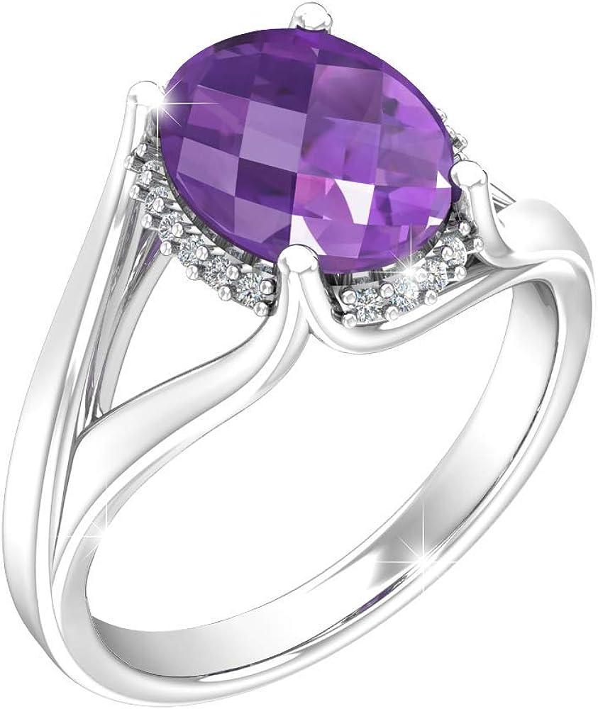 Belinda Jewelz Womens 925 Sterling Silver Oval Gem Birthstone Halo Ring