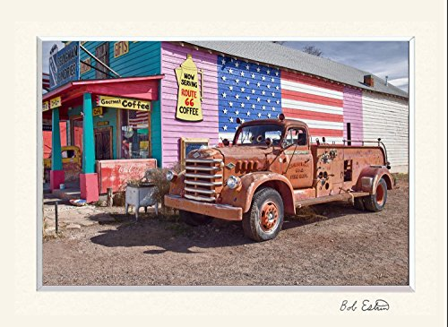 11 x 14 inch mat including photograph of Nostalgic Route 66 with rusty red firetruck and American (Antique Soda Machines)