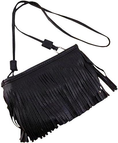 Women Faux Leather Punk Tassel Fringe Handbag Tote Purse Black Shoulder Bag Hot