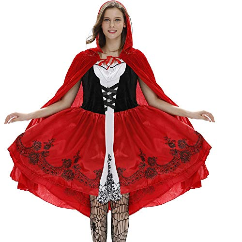 LOKODO Women's Gothic Red Riding Hood Costume Women's Sexy Cloak Dress Suit Cosplay Halloween Costume Party Dress with Cloak Hat Red S