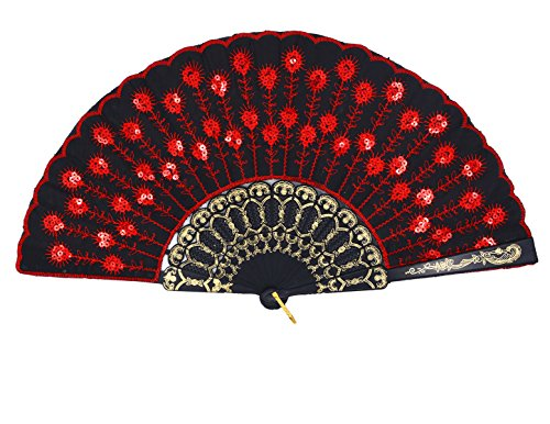 Amajiji Folding Fans for Women,Handmade Elegant Colorful Embroidered Flower Peacock Pattern Sequin Fabric Folding Fans (Red) -