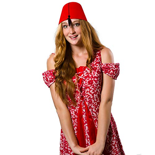 Skeleteen Arabian Red Fez Hat - Moroccan Costume Accessory Fez Hats with  Black Tassel - 1 63b21bac36a
