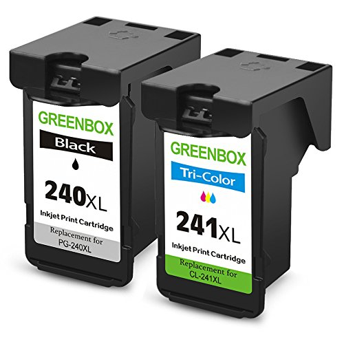 GREENBOX Remanufactured Ink Cartridge Replacement For PG-240XL 240 XL CL-241XL 241 XL High Yield For Canon PIXMA MX472 MX452 MG3220 MG3520 MG2220 MX392 MX432 MX512 MG2120 MX522 (1 Black+1 Tri-Color)
