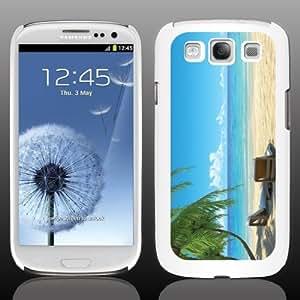Beach Samsung Galaxy s3 White Phone Case Designs (Beach Chairs with Palmtrees) - White Protective Hard Case