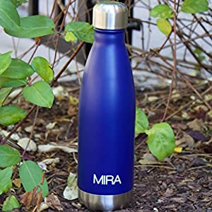 MIRA 17 Oz Stainless Steel Vacuum Insulated Water Bottle | Leak-proof Double Walled Cola Shape Bottle | Keeps Drinks Cold for 24 hours & Hot for 12 hours | 17 Oz (500 ml) | Blue