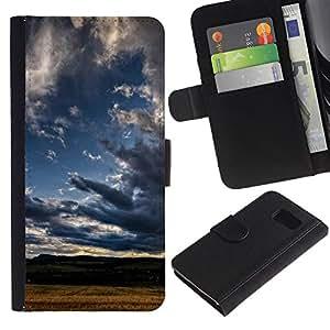 Billetera de Cuero Caso Titular de la tarjeta Carcasa Funda para Samsung Galaxy S6 SM-G920 / Nature Cloud Shadow / STRONG