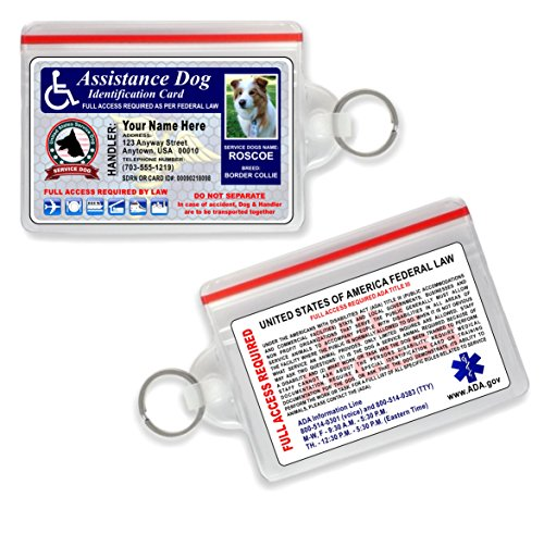 Assistance Service Dog ID Card {CUSTOM PRINTED WITH YOUR DOGS PHOTO & INFO} Service Dog - Free Zip Lock Pouch (Weatherproof Photo Pouch)