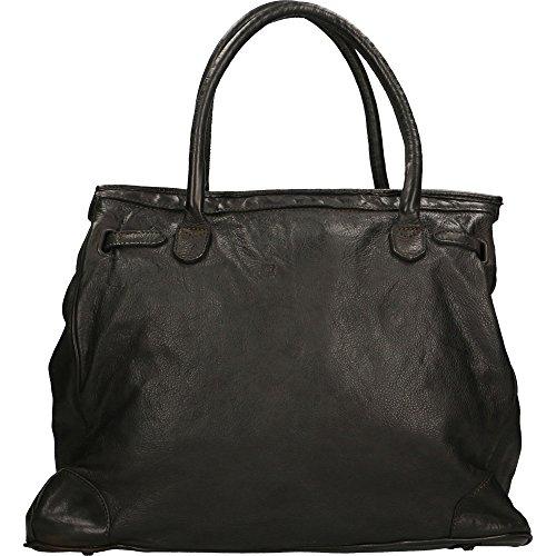 Italy En tressé authentique Borse Sac main Chicca Made Noir cuir femme 39x33x15 in à Cm Vintage Rw7qfpU
