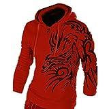 Hzcx Fashion Men's Dragon Printed Long Sleeve Pullovers Juniors Hoodies SJXZ1809-W03-25-RE-US M TAG XL
