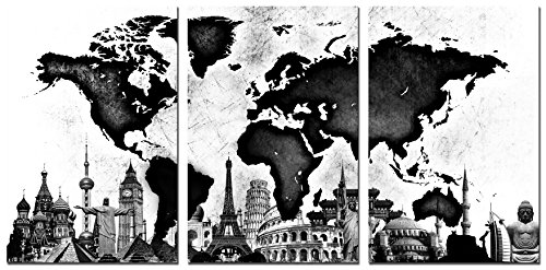 World Map Canvas Wall Art Black and White Famous Architecture HLJ Painting Stretched and Framed Hang for Home Office Wall Decoration 20x30in