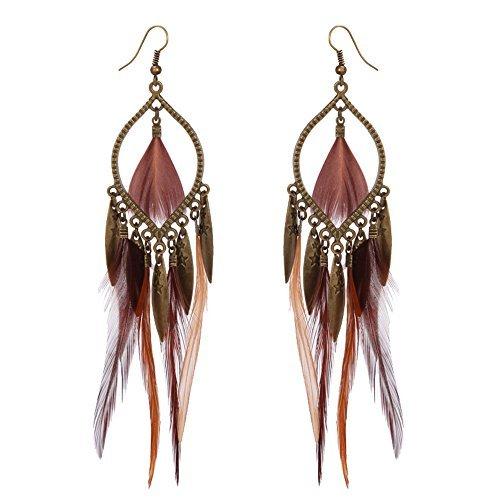 Women's Feather Earrings - Exotic Style Bohemian Style Earrings Big Earrings for Girls Women