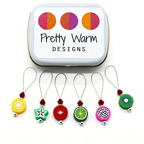 Six Tin (Fruit Bead Polymer Clay Snag Free Stitch Markers Jewelry for Knitting (Set of 6 with Tin))