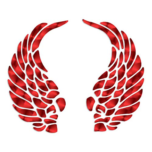 """Curled Angel Wings - Vinyl Decal Sticker - 4.5"""" x 3.75"""" - Red Engine Turn"""
