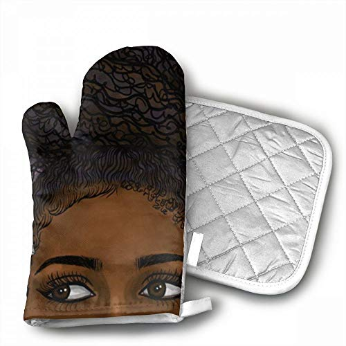 African Black Woman 2 Oven Mitts,Professional Heat Resistant
