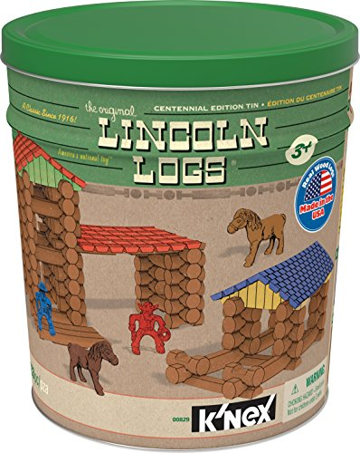 LINCOLN LOGS – Centennial Edition Tin – 153 Pieces – Ages 3+ – Preschool Education Toy (Amazon Exclusive)
