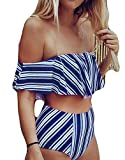 POGTMM Women's Floral Leaves Printing Off Shoulder Ruffled Flounce Padded Crop Top High Waist Bikini Sets Two Piece Swimsuits (S, White and Blue Striped)