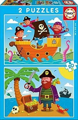 Educa - Piratas, 2 Puzzles infantiles de 20 piezas, a partir de 3 años (17149): Amazon.es: Juguetes y juegos
