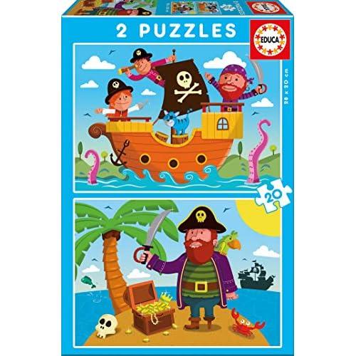51%2BMrXXU 7L. SS500 Dos puzzles de 20 piezas diversión por partida doble; dimensiones aproximadas del puzzle montado: 28 x 20 cm Puzzles inspirados en Piratas Compuestos por grandes piezas, perfectamente acabadas para que sea sencilla y segura su manipulación por los niños