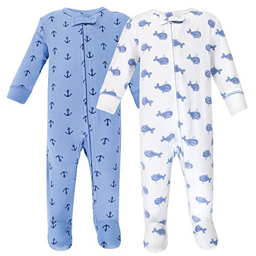 Hudson Baby Baby Zipper Sleep N Play, Blue Whales 2 Pack, 0-3 Months (3M)