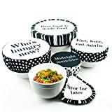 G.U.S. Tasty Trimmings Fabric Bowl Covers - Polka Dot, Set of 5. Food Safe, Vegetable Dyes, Elastic Edging, Washable And Reusable