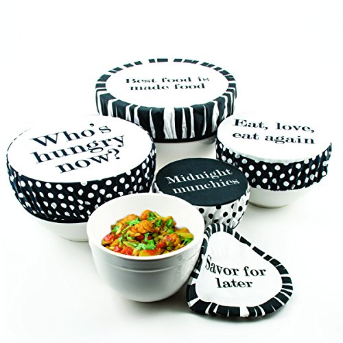 Fabric Polka Dot Cotton - G.U.S. Tasty Trimmings Fabric Bowl Covers - Polka Dot, Set of 5. Food Safe, Vegetable Dyes, Elastic Edging, Washable And Reusable