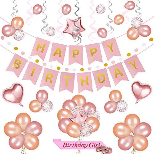 69 PCS Rose Gold Birthday Party Decoration Set - Happy Birthday Banner + Party Balloons + Glittery Polka Dot Garland + Shiny Swirls + Birthday Girl Sash, Perfect For Girls -