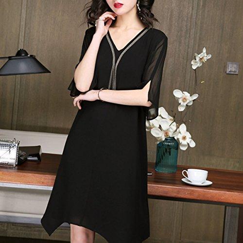 Damen Abendkleid Midi Gestreift Übergröße Kleid girl Seide S256 Schwarz Cocktail Kleider E qWF7En