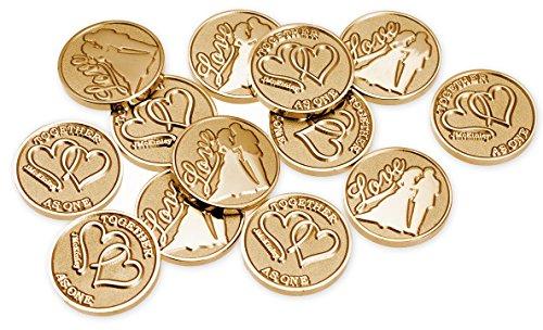 Bride and Groom, Love Gold Wedding Arras Coins, Arras de Boda
