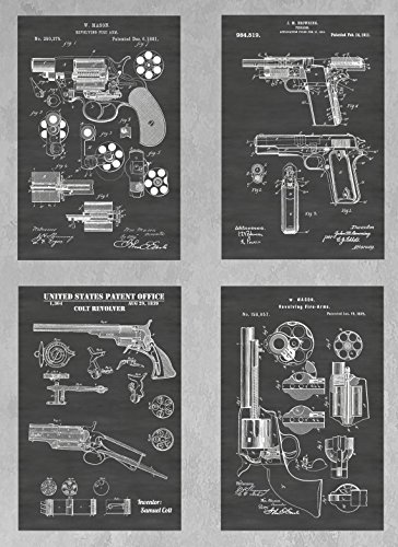 Antique Colt Revolvers and 1911 Pistol: Set of Four Patent Print Art Posters: Choose From Multiple Size and Background Color Options