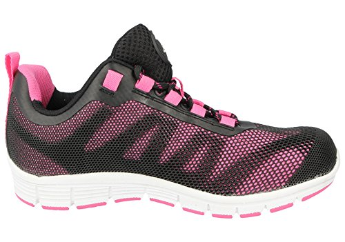 WEIGHT ULTRA LADIES TRAINER LIGHT STEEL Pink CAP WORK LACE SHOES Blk GROUNDWORK TOE SAFTEY qHHZT0w
