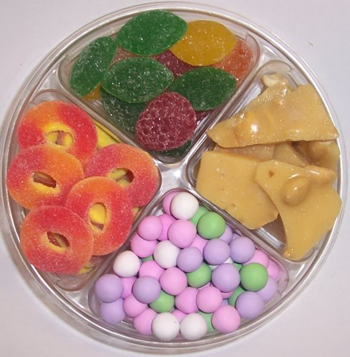 Scott's Cakes 4-Pack Chocolate Dutch Mints, Peach Rings, Pectin Fruit Gels, & Peanut Brittle