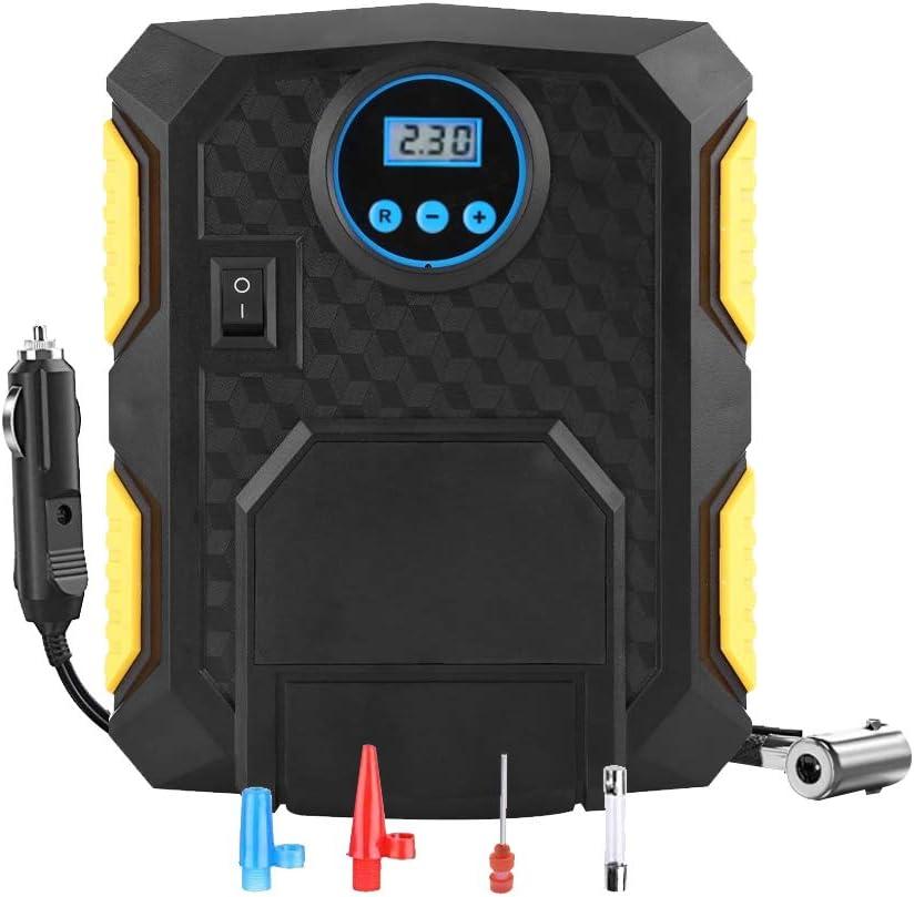 Haofy Compresseur dair Portatif 12V 150PSI Gonfleur de Pneu de Voiture Gonfleur Electrique avec Rechargeable dAllume-Cigare LED Pompe /à Air De Voiture 3 Adaptateurs pour SUV//Moto//V/élo LCD /Écran