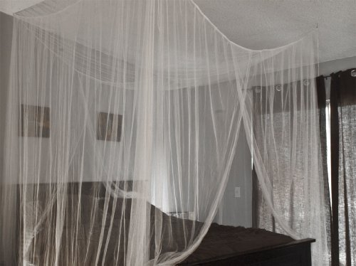 Best Choice Products® White Four Corner Bed Canopy Mosquito Net Bed Netting Queen King For Sale
