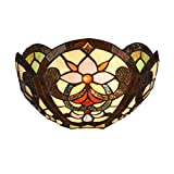 Docheer Tiffany Style Victorian Floral Wall Sconce 12 Inch Stained Glass Shade Wall Lamp - Multi-Colored