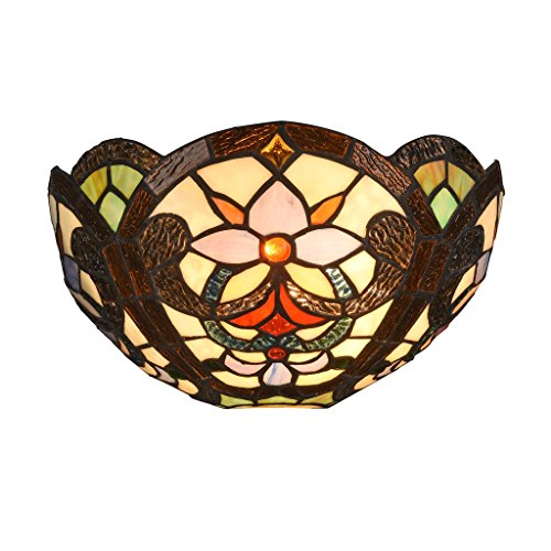 Docheer Tiffany Style Victorian Floral Wall Sconce 12 Inch Stained Glass Shade Wall Lamp, Multi-Colored