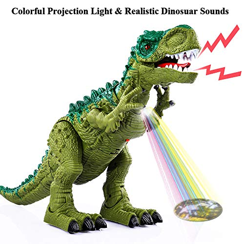 TEMI Electronic Walking Dinosaur Toys for Kids Boys Girls, Battery Powered Jurassic Green Tyrannosaurus Rex Model T-Rex Dragon with Sounds and Projection Lights, Real Movement, Laying Eggs by TEMI (Image #1)