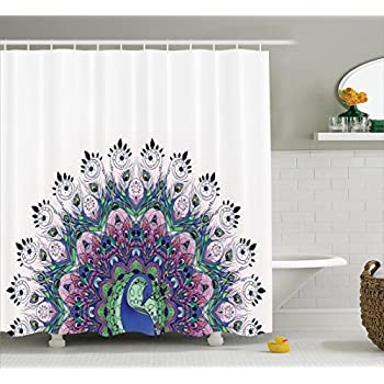 Peacock Decor Shower Curtain Collection, Peacock Pattern And Exotic  Wildlife Feather Ornament Vintage Oriental Image