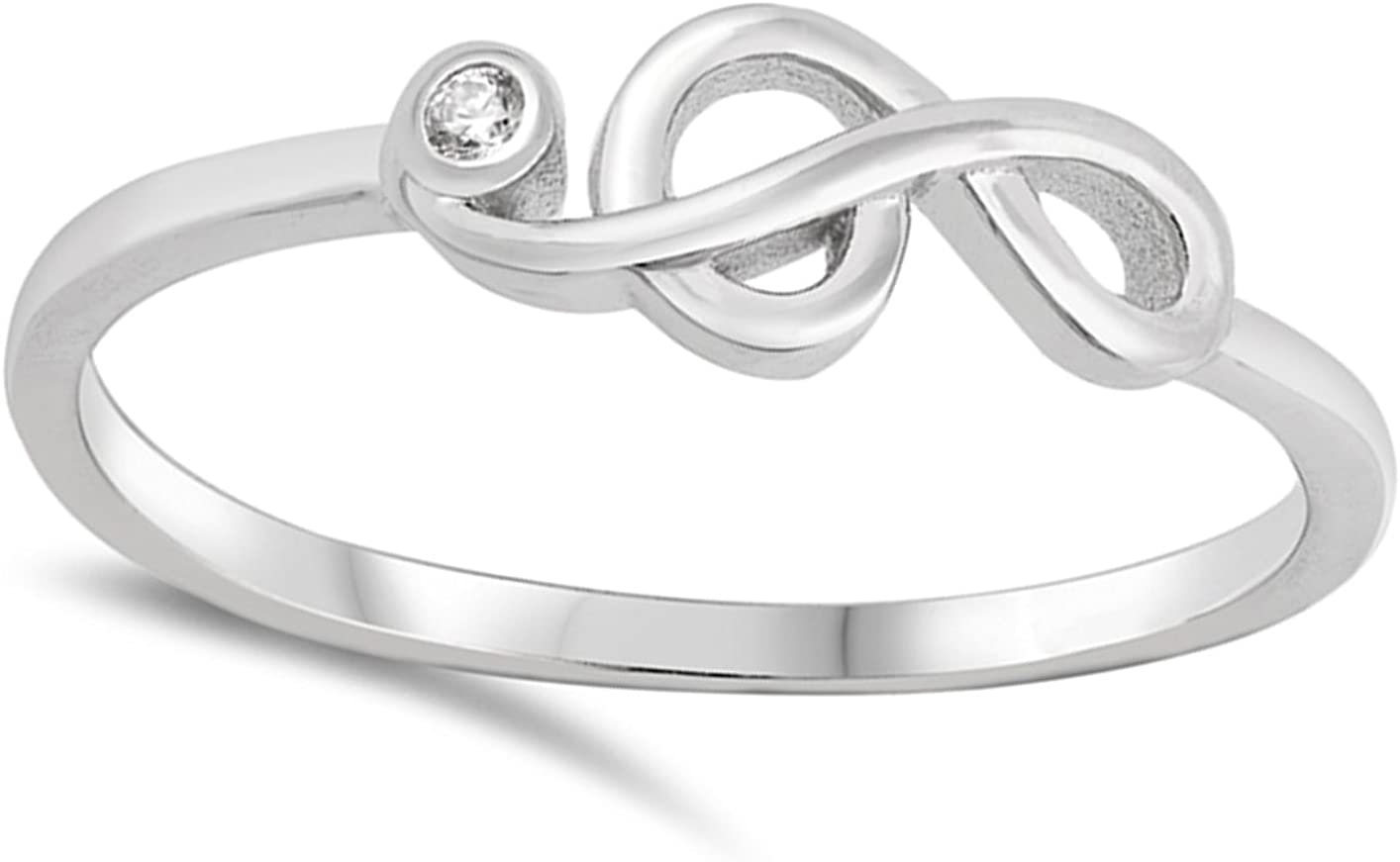White CZ Music Note Clef Dainty Ring .925 Sterling Silver Arts Band Sizes 3-10