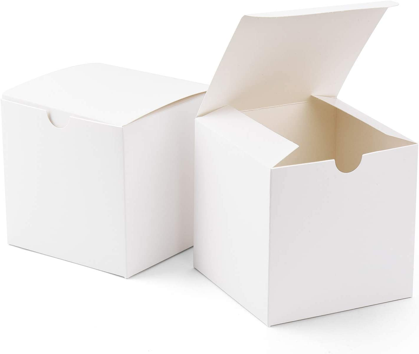 """GSSUSA Small Gift Boxes 100Pack 4x4x4"""" White Kraft Gift Boxes with Lids for Gifts, Crafting, Cupcake Boxes"""