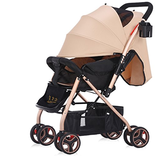 Prams/Strollers Baby Trolley High Landscape Can Lie Down Ultra-light Portable Fold 1-3 Years Old Child Baby Baby Carriage Steel Pipe Shocking Proof (Color : Brown)