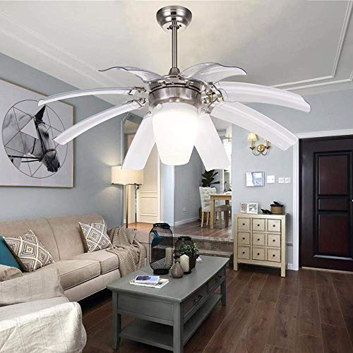 LuxureFan Simple Modern Ceiling Fan Light for Contemporary Living Room Bedroom Restaurant with Eight Retractable ABS Transparent Leaves and Take-Off Chandeliers (Sand Nickel) For Sale