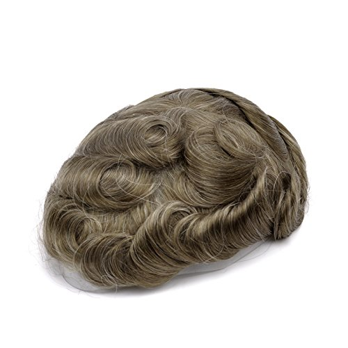 GEX 63Colors Men's HairPiece Toupee Medium Density Wig Human Hair Replacement Systems Vivid Men's Toupee Bella Basement (1820#) -